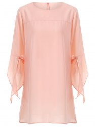Plus Size Flare Sleeve Bowknot Mini Dress - PINK 5XL
