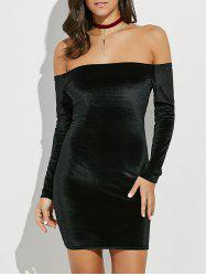 Backlesss Off The Shoulder Long Sleeve Velvet Bodycon Dress
