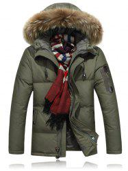 Zipper Up Quilted Jacket with Fur Trim Hood -