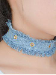 Jeans Fringe Wide Choker Necklace