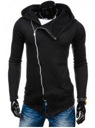 Plain Long Sleeve Asymmetrical Zip Up Hoodie - BLACK