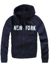 Pocket Zip Up New York Hoodie - CADETBLUE