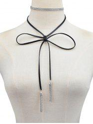 PU Leather Chain Tassel Bowknot Tie Necklace -