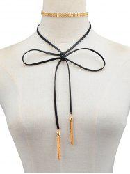 PU Leather Chain Tassel Bowknot Tie Necklace