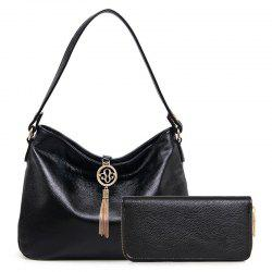 Tassels Textured Leather Snaps Shoulder Bag