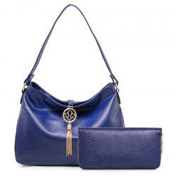 Tassels Textured Leather Snaps Shoulder Bag - BLUE