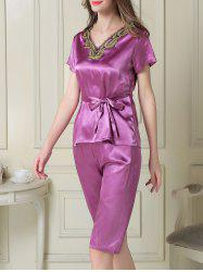 Embroidered Satin Two Piece Summer Pajamas Set