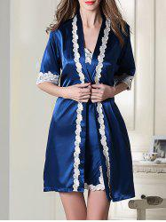 Satin Slip Dress and Belted Robe - ROYAL BLUE