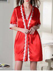 Satin Short Slip Dress and Belted Robe - RED