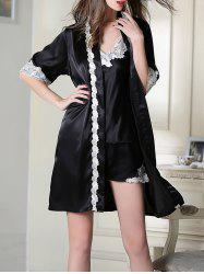 Satin Cami Top and Shorts and Robe