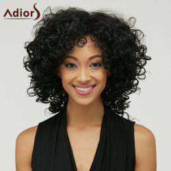 Adiors Medium Afro Curly Inclined Bang Synthetic Wig