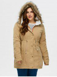 Plus Size Drawstring Hooded Parka Coat With Fur Collar -