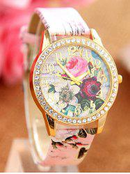 Rhinestone Faux Leather Rose Quartz Watch - PINK