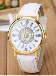 Faux Leather Feather Pattern Quartz Watch -