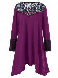 Plus Size Lace Trim Asymmetrical T Shirt Dress - VIOLET ROSE 5XL