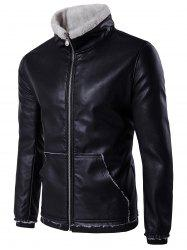 Zip Up Pocket Flocking Faux Leather Jacket