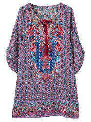 V Neck Retro Print Tunic Dress