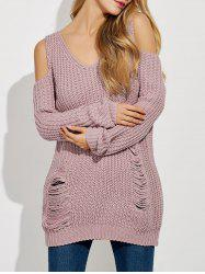 Ripped Cold Shoulder Ribbed Sweater - PINKISH PURPLE L