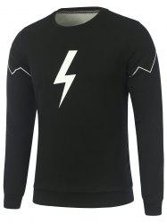 Lightning Symbol Print Flocking Crew Neck Sweatshirt