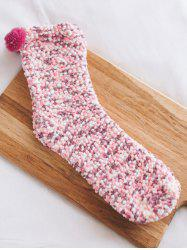 Coral Fleece Chuzzle Embellished Heathered Socks