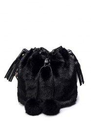 Furry Pompon Tassel Bucket Bag