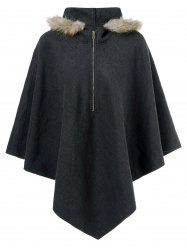 Hooded Cape Coat - BLACK GREY
