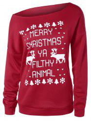 Skew Neck Elk Christmas Sweatshirt