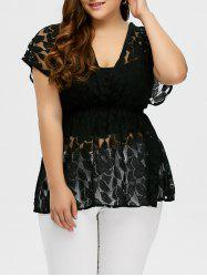 Plus Size Lace Sheer Blouse