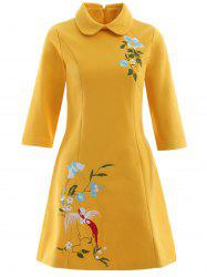 A Line Pocket Bowknot Bird Embroidery Woolen Swing Dress -
