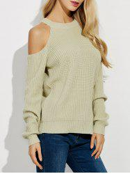 Cold Shoulder Crew Neck Ribbed Sweater - BEIGE 2XL