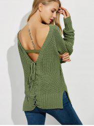 Backless Lace Up Ribbed Sweater -