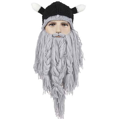 Beard Braid Tassel Embellished Animal Head HatACCESSORIES<br><br>Color: BLACK; Hat Type: Skullies Beanie; Group: Adult; Gender: For Men; Style: Fashion; Pattern Type: Others; Material: Acrylic; Circumference (CM): 57CM; Weight: 0.270kg; Package Contents: 1 x Hat;