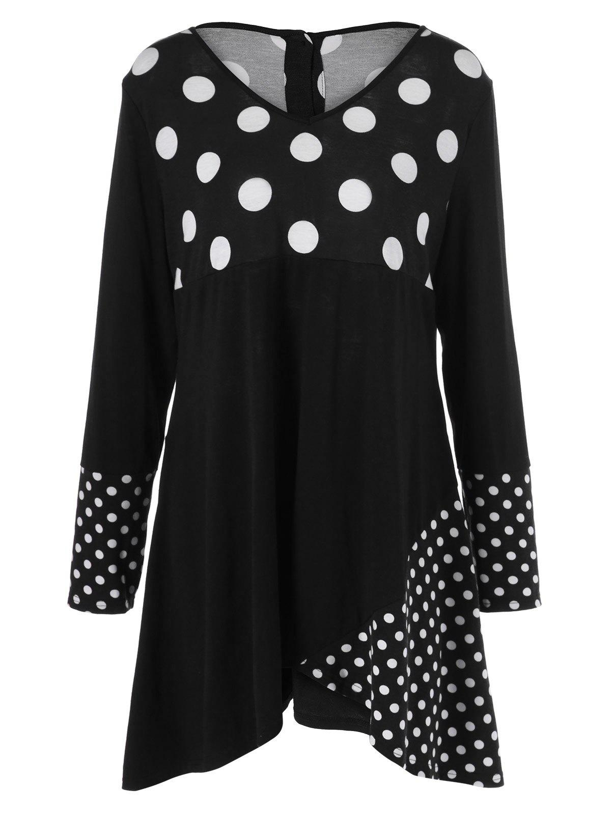 Plus Size Polka Dot Trim Asymmetrical DressWOMEN<br><br>Size: 4XL; Color: WHITE AND BLACK; Style: Brief; Material: Polyester,Spandex; Silhouette: Asymmetrical; Dresses Length: Knee-Length; Neckline: V-Neck; Sleeve Length: Long Sleeves; Pattern Type: Polka Dot; With Belt: No; Season: Fall,Spring; Weight: 0.420kg; Package Contents: 1 x Dress;