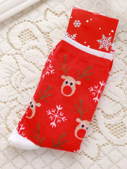 Pair of Knitted Deer Jacquard Christmas SocksACCESSORIES<br><br>Color: RED; Type: Socks; Group: Adult; Gender: For Women; Style: Fashion; Pattern Type: Print; Material: Cotton; Weight: 0.045kg; Package Contents: 1 x Socks(Pairs);