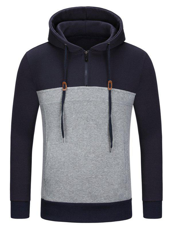 Half Zip Color Block Pullover HoodieMEN<br><br>Size: L; Color: PURPLISH BLUE; Material: Cotton,Polyester; Clothing Length: Regular; Sleeve Length: Full; Style: Active; Weight: 0.4270kg; Package Contents: 1 x Hoodie;