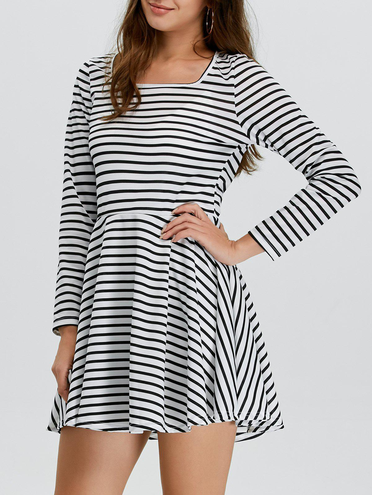 f2a63e4508114 52% OFF] Stripe Fit And Flare Mini Skater Dress With Long Sleeve ...