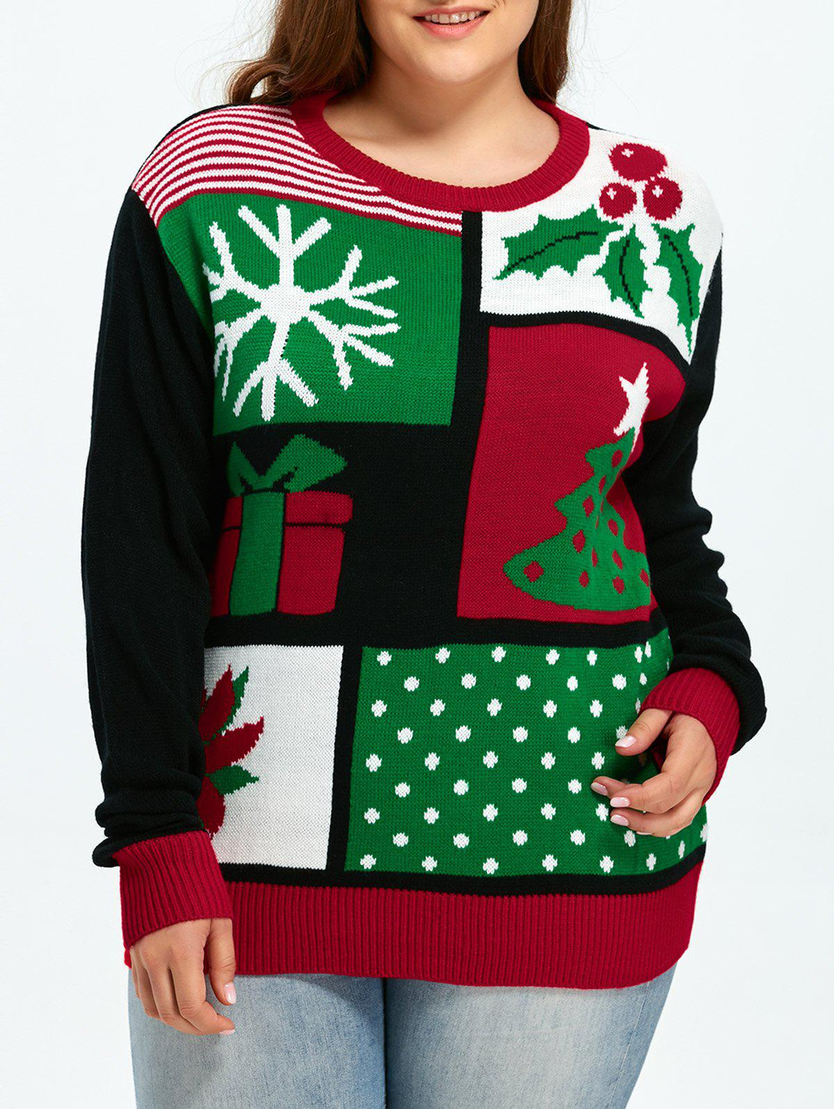 Christmas Tree Snowflake Pattern Cute Plus Size SweaterWOMEN<br><br>Size: 3XL; Color: COLORMIX; Type: Pullovers; Material: Cotton,Spandex; Sleeve Length: Full; Collar: Round Neck; Technics: Computer Knitted; Style: Casual; Season: Fall,Spring,Winter; Pattern Type: Striped; Weight: 0.550kg; Package Contents: 1 x Sweater;