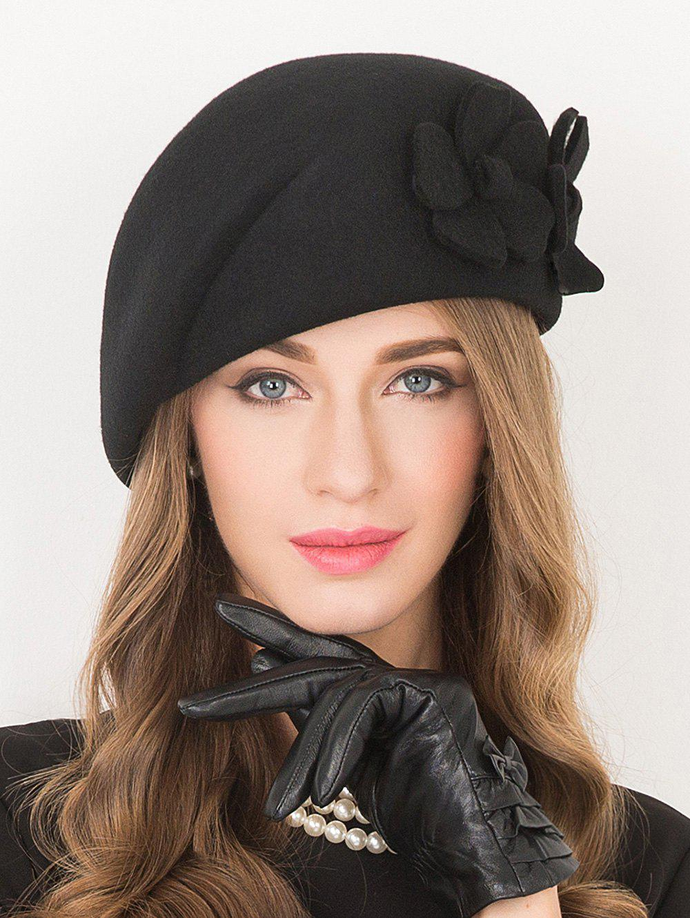 Flower Applique Embellished Wool French BeretACCESSORIES<br><br>Color: BLACK; Hat Type: Beret; Group: Adult; Gender: For Women; Style: Fashion; Pattern Type: Solid; Material: Wool; Circumference (CM): 57CM; Weight: 1.529kg; Package Contents: 1 x Hat;
