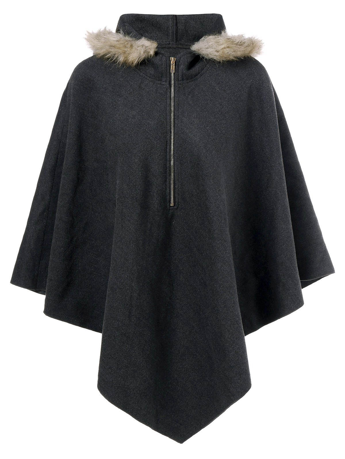 Hooded Cape CoatWOMEN<br><br>Size: L; Color: BLACK GREY; Clothes Type: Others; Material: Polyester; Type: Asymmetric Length; Shirt Length: Regular; Sleeve Length: Full; Collar: Hooded; Pattern Type: Solid; Embellishment: Zippers; Style: Fashion; Season: Fall,Spring; Weight: 0.420kg; Package Contents: 1 x Coat;