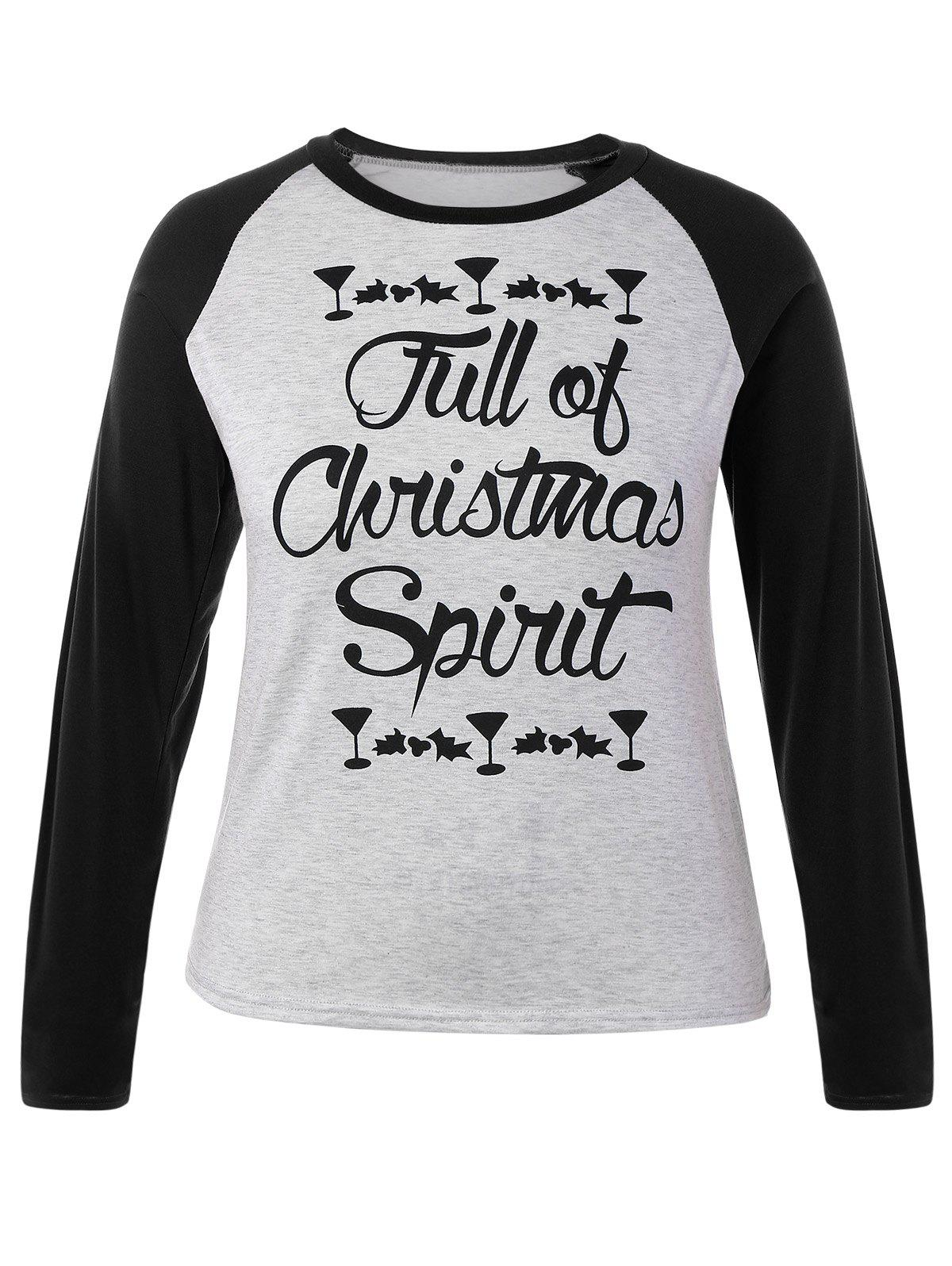 Plus Size Raglan Sleeve Christmas T-ShirtWOMEN<br><br>Size: 2XL; Color: BLACK; Material: Cotton Blends,Polyester; Shirt Length: Regular; Sleeve Length: Full; Collar: Crew Neck; Style: Fashion; Season: Fall,Spring,Winter; Pattern Type: Letter; Weight: 0.224kg; Package Contents: 1 x T-Shirt;
