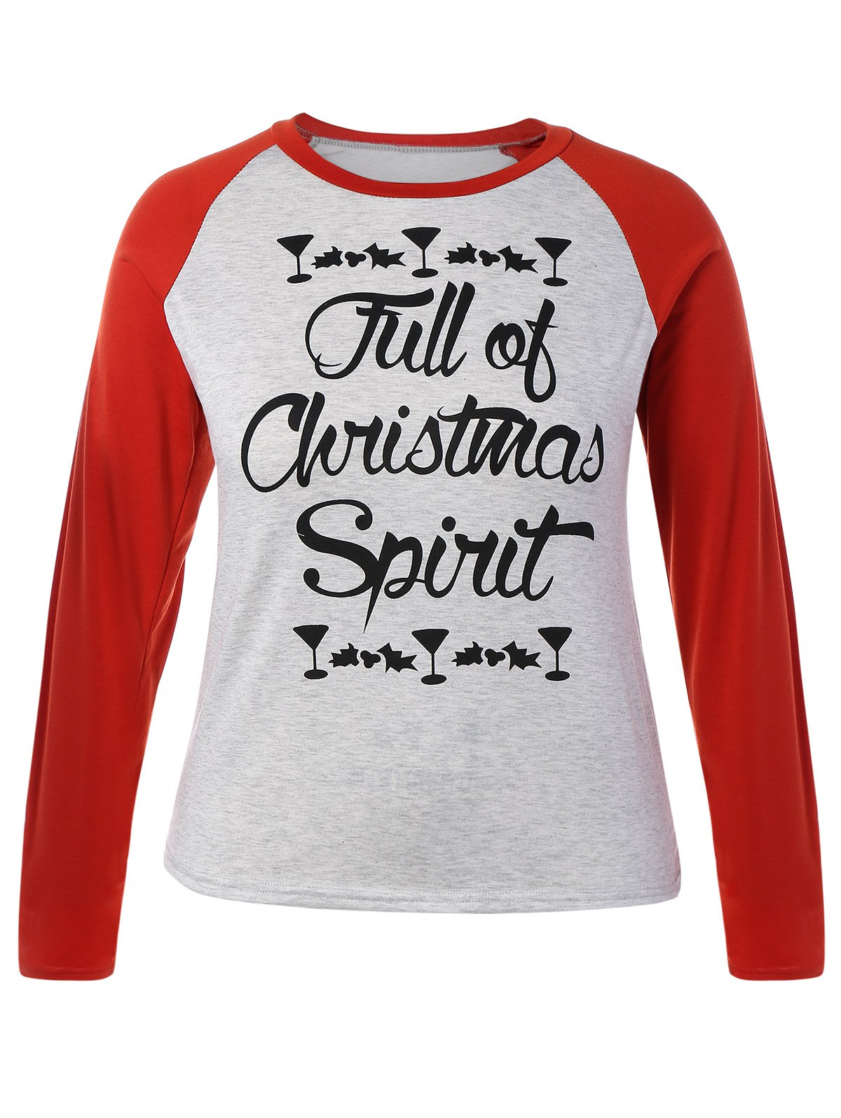 Plus Size Raglan Sleeve Christmas T-ShirtWOMEN<br><br>Size: 3XL; Color: RED; Material: Cotton Blends,Polyester; Shirt Length: Regular; Sleeve Length: Full; Collar: Crew Neck; Style: Fashion; Season: Fall,Spring,Winter; Pattern Type: Letter; Weight: 0.224kg; Package Contents: 1 x T-Shirt;