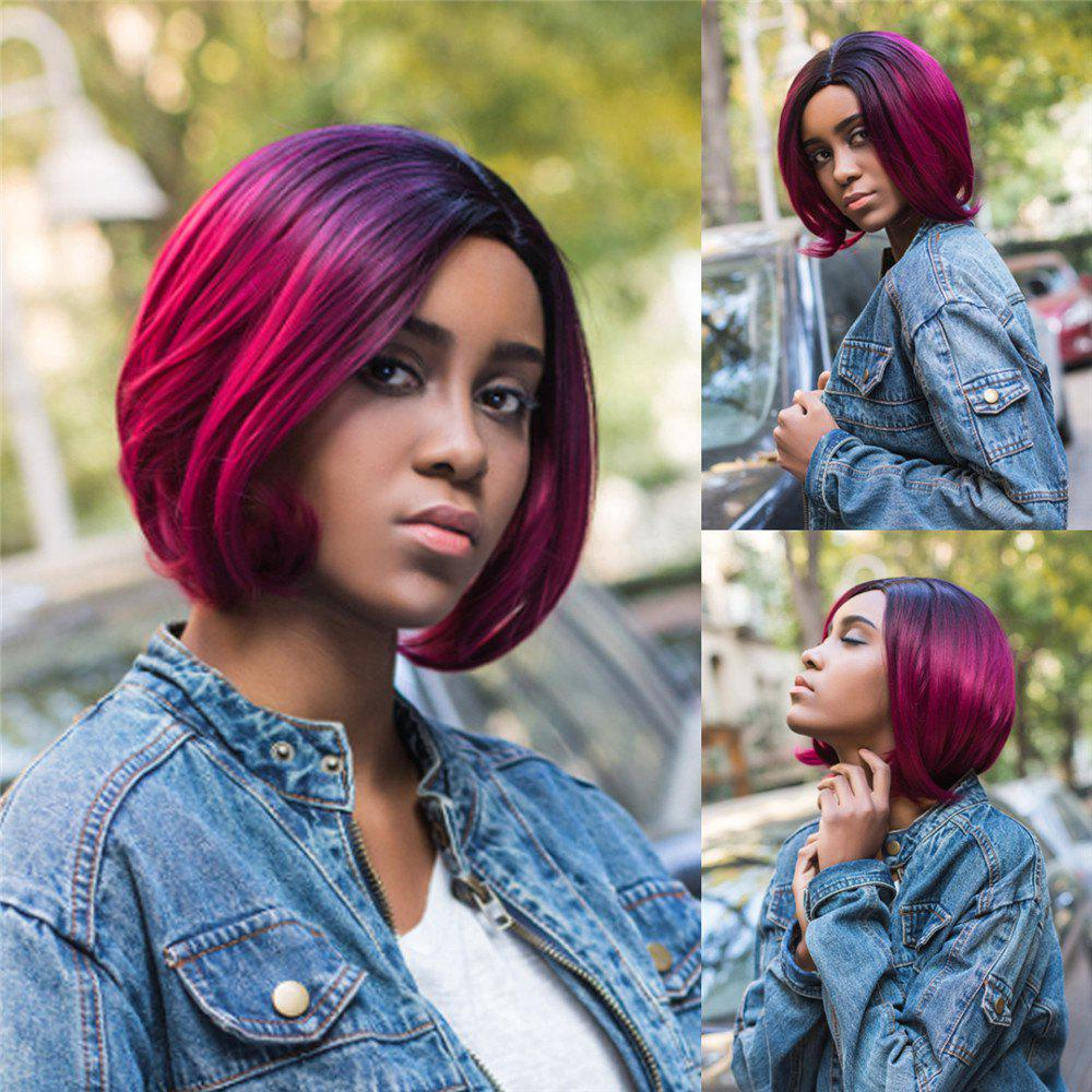 Medium Side Parting Ombre Slightly Curled Bob Synthetic WigHAIR<br><br>Color: COLORMIX; Type: Full Wigs; Cap Construction: Capless; Style: Straight; Material: Synthetic Hair; Bang Type: Side; Length: Medium; Length Size(CM): 33; Weight: 0.270kg; Package Contents: 1 x Wig;