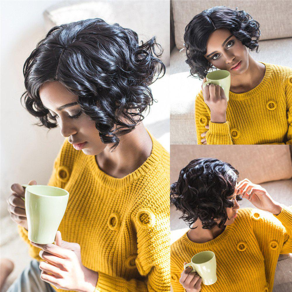 Towheaded Short Side Parting Black Curly Womens Synthetic Hair WigHAIR<br><br>Color: BLACK; Type: Full Wigs; Cap Construction: Capless; Style: Curly; Material: Synthetic Hair; Bang Type: Side; Length: Short; Length Size(CM): 30; Weight: 0.220kg; Package Contents: 1 x Wig;