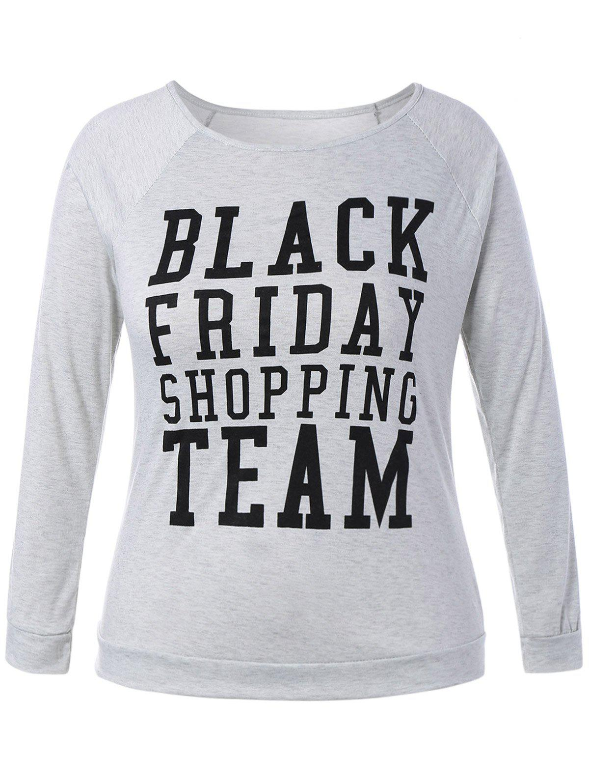 Plus Size Black Friday Long Sleeve Christmas T-ShirtWOMEN<br><br>Size: L; Color: LIGHT GRAY; Material: Cotton Blends,Polyester; Shirt Length: Regular; Sleeve Length: Full; Collar: Scoop Neck; Style: Fashion; Season: Fall,Spring,Winter; Pattern Type: Letter; Weight: 0.203kg; Package Contents: 1 x T-Shirt;