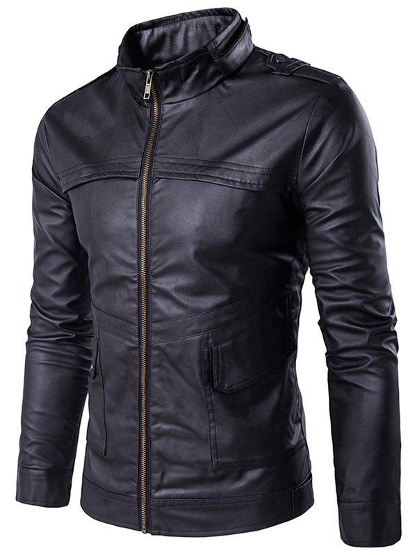 Outfit Stand Collar Zip Up Pockets Design PU Leather Jacket