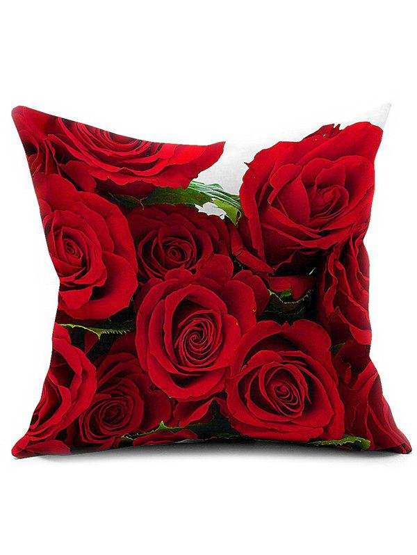 3D Rose Flower Chair Sofa Backrest Throw Pillow CoverHOME<br><br>Color: RED; Material: Linen; Pattern: Printed; Style: Country; Shape: Square; Size(CM): 45*45; Weight: 0.110kg; Package Contents: 1 x Pillow Case;