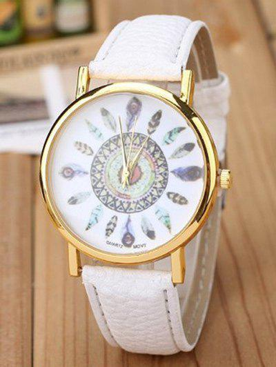 Store Faux Leather Feather Pattern Quartz Watch