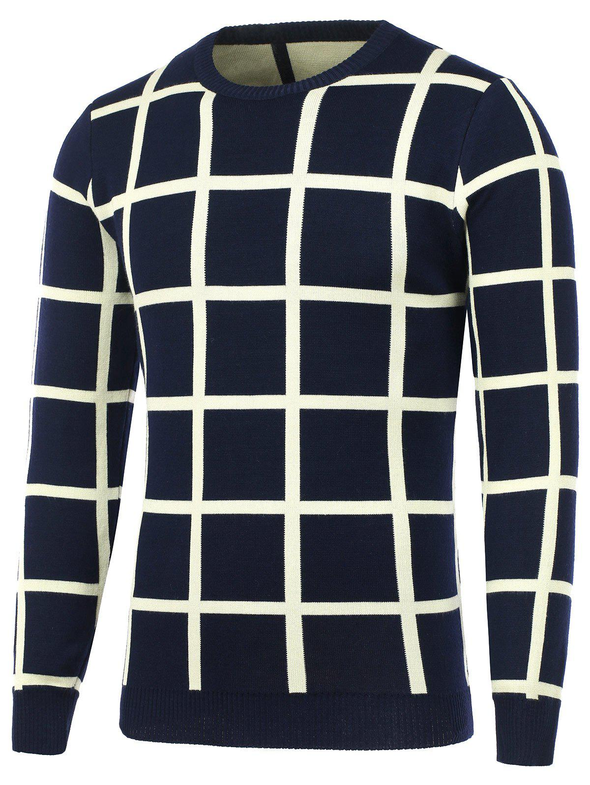 Unique Knitted Crew Neck Grid Sweater