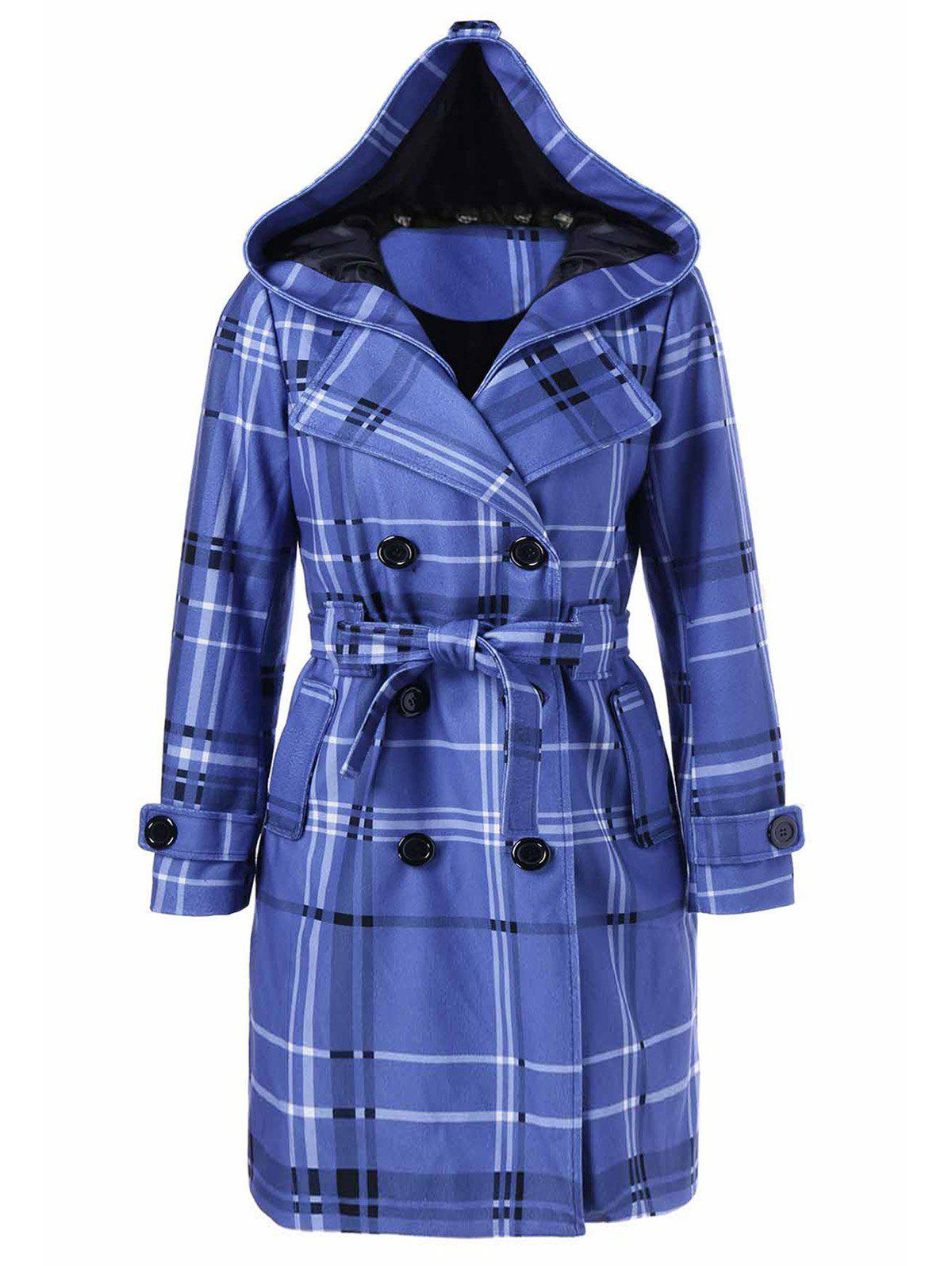 Tie Belt Hooded Plaid Woolen CoatWOMEN<br><br>Size: L; Color: MEDIUM BLUE; Clothes Type: Wool &amp; Blends; Material: Polyester; Type: Slim; Shirt Length: Long; Sleeve Length: Full; Collar: Hooded; Pattern Type: Plaid; Embellishment: Pockets; Style: Fashion; Season: Fall,Spring,Winter; Weight: 0.865kg; Package Contents: 1 x Coat;