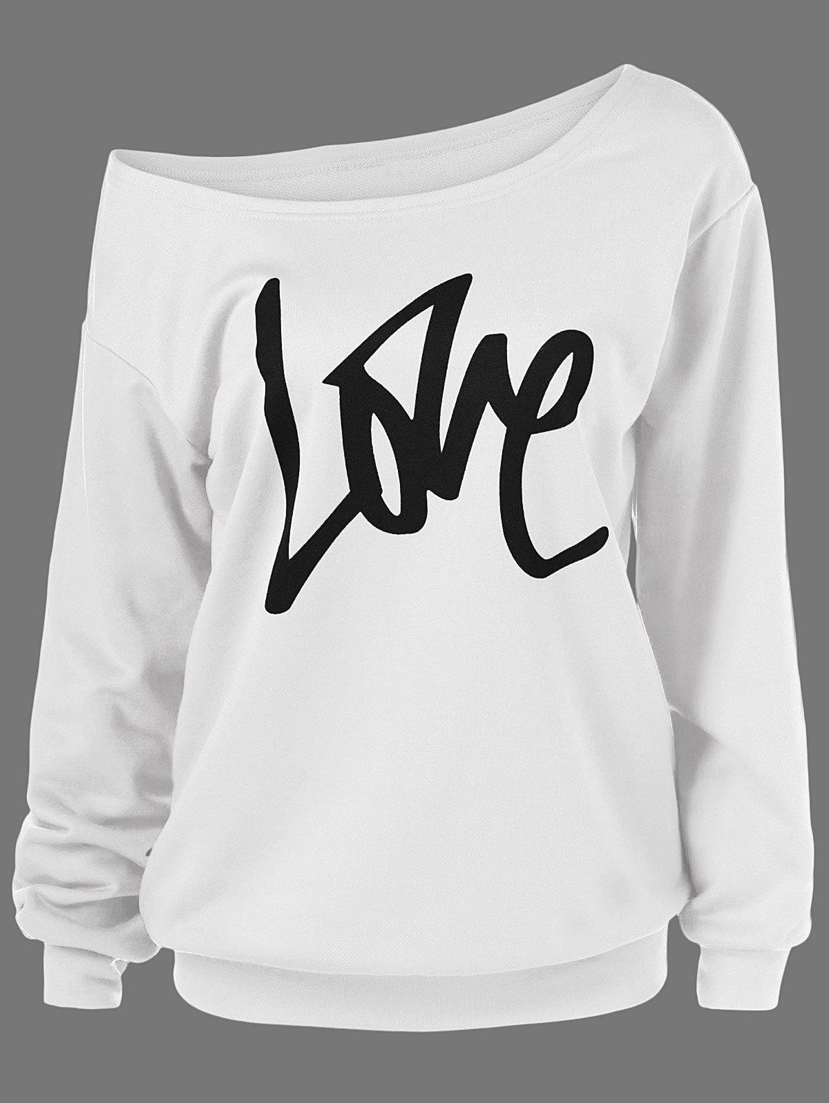 Skew Collar Love Plus Size SweatshirtWOMEN<br><br>Size: 2XL; Color: WHITE; Material: Polyester; Shirt Length: Regular; Sleeve Length: Full; Style: Casual; Pattern Style: Letter; Season: Fall,Spring; Weight: 0.3800kg; Package Contents: 1 x Sweatshirt;